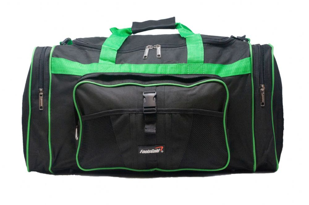Large 50L foolsGold® Sports Holdall Bag - Black/Green